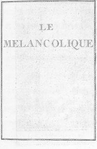 S.3.25 Le melancolique, 1772, Title Page