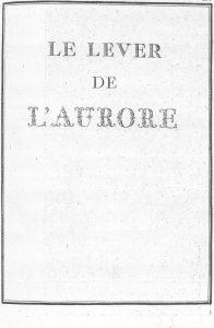 S.4.23 Le lever de l'aurore, 1772, Title page